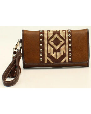 Blazin Roxx Shania Collection Aztec Ribbon Clutch, Brown, hi-res