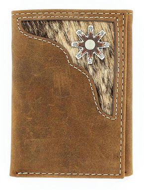 Nocona Hair-on-Hide Inlay w/ Rowel Concho Tri-fold Wallet, Med Brown, hi-res