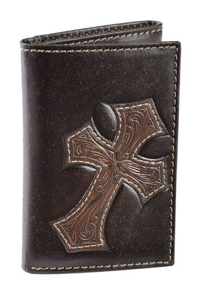 Nocona Tooled Cross Overlay Tri-fold Wallet, Brown, hi-res