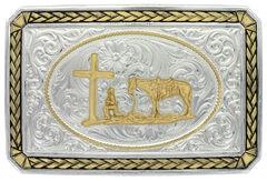 Montana Silversmiths Two-Tone Christian Cowboy Portrait Belt Buckle, , hi-res