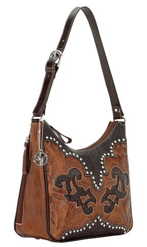 American West Annie's Secret Collection Concealed Carry Shoulder Bag, Brown, hi-res