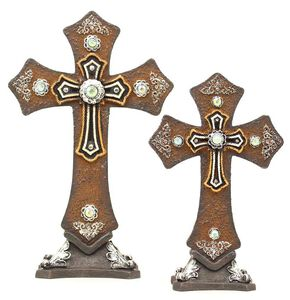 Table Crosses - Set of 2, Brown, hi-res