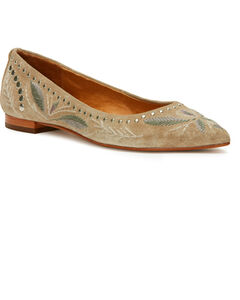 Frye Women's Ash Sienna Embroidered Ballet Flats - Pointed Toe, Ash, hi-res