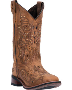 Laredo Tan Janie Western Boots - Square Toe , , hi-res