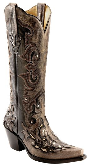 Corral Distressed Studded Overlay Cowgirl Boots - Snip Toe, Black, hi-res