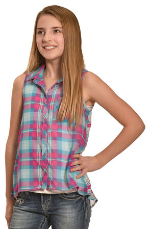 Derek Heart Girls' Blue Sleeveless Hi Lo Button Down Shirt, Blue, hi-res