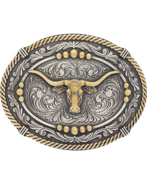 Montana Silversmiths Men's Silver Two Tone Longhorn Steer Belt Buckle , Silver, hi-res