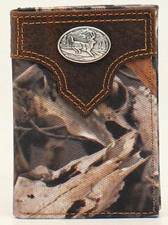 Ariat Camo Deer Concho Tri-Fold Wallet, Camouflage, hi-res