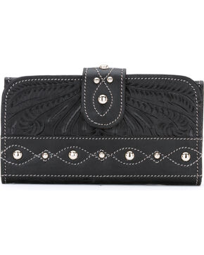 American West Women's Over the Rainbow Leather Tri-Fold Clutch Wallet, Black, hi-res