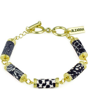 Jilzarah Black & White Tube Bead Gold Bracelet, Blk/white, hi-res