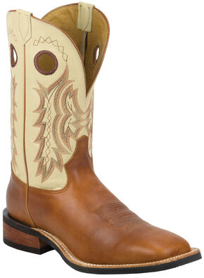 Tony Lama Suntan Rebel Americana Cream Top Cowboy Boots - Square Toe , Suntan, hi-res