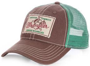 Wrangler Men's American Cowboys Choose Wrangler Mesh Back Cap, Brown, hi-res