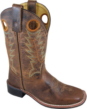 Smoky Mountain Youth Boys' Jesse Western Boots - Square Toe , Brown, hi-res