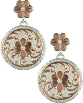 Montana Silversmiths Rose Gold Flower Reflections Dangle Earrings, Silver, hi-res