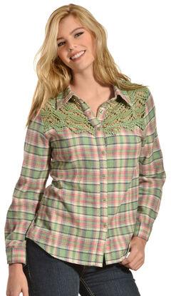 Red Ranch Women's Crochet Flannel Green Plaid Shirt, , hi-res