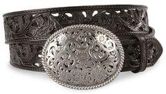 Tony Lama Black Filigree Leather Belt, Black, hi-res