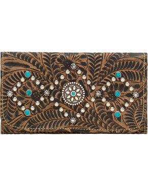 American West Canyon Creek Ladies' Rustic Brown Tri-Fold Wallet, Rustic Brn, hi-res