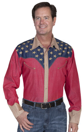 Scully Patriotic Pick Stitched Western Shirt - Big & Tall, Red, hi-res