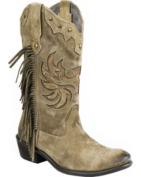 Roper Tan Fringe Cowgirl Boots - Round Toe, Tan, hi-res