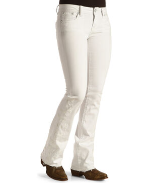 Grace in La Women's Released Hem Jeans - Boot Cut , White, hi-res