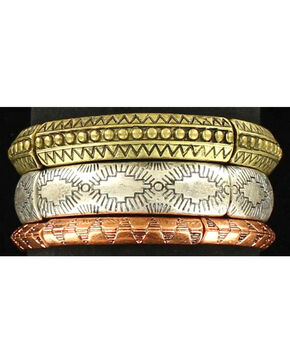 Blazin Roxx Women's 3 Piece Tribal Stretch Bracelet , Multi, hi-res