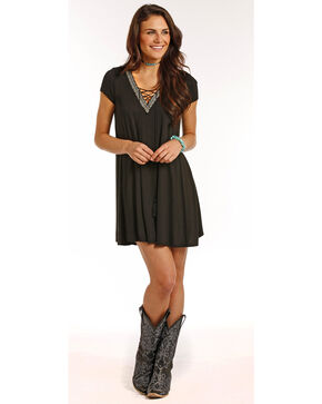 Panhandle Women's Lace Up Cap Sleeve Knit Flared Dress, Black, hi-res