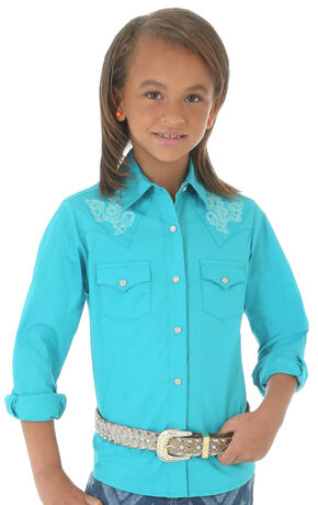 Wrangler Girls' Turqoise Fancy Yoke Shirt, Turquoise, hi-res