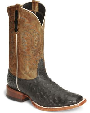 Nocona Men's Full Quill Ostrich Boots - Square Toe, Black, hi-res
