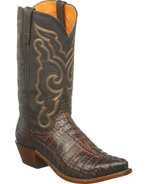 Lucchese Men's Brown Hornback Caiman Leather Cowboy Boots - Snip Toe, Dark Brown, hi-res