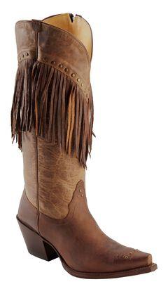 Tony Lama Vaquero with Fringe Mosto Tucson Cowgirl Boots - Snip Toe, , hi-res