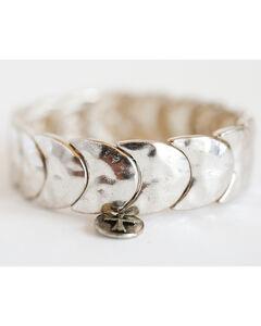 West & Co. Women's Burnished Silver Crescent Stretch Bracelet, , hi-res
