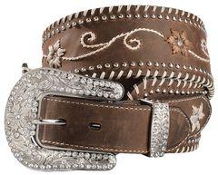 Blazin Roxx Wide Floral Embroidered Leather Belt, , hi-res