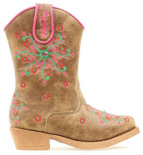 Blazin Roxx Toddler Girls' Savvy Embroidered Zipper Cowgirl Boots - Snip Toe, Brown, hi-res