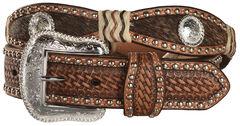 Nocona Scalloped Hair on Hide Basketweave Concho Leather Belt, , hi-res