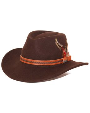 Outback Trading Co. High Country UPF50 Sun Protection Crushable Wool Hat, Chocolate, hi-res