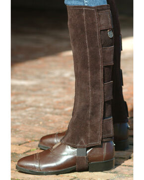 Ovation Women's Suede Hook & Loop Half Chaps, Brown, hi-res