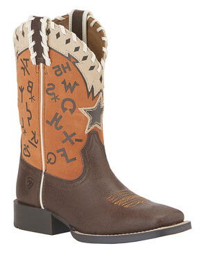Ariat Pete Children's Boots - Square Toe, Brown, hi-res