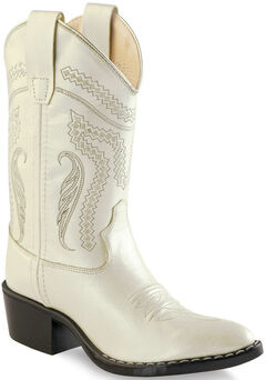 Old West Girl Childrens' White Western Boots - Pointed Toe , , hi-res