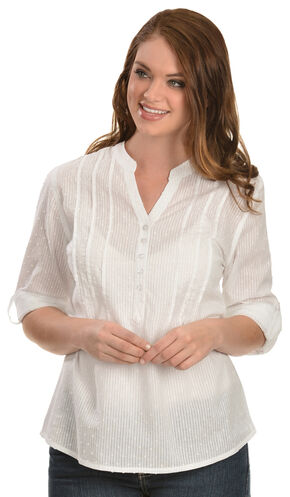 Red Ranch Women's Swiss Dot Cotton Top, White, hi-res
