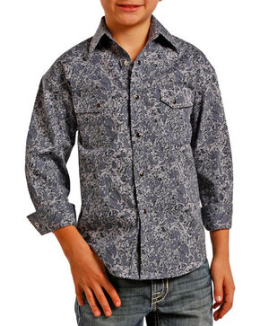 Rock & Roll Cowboy Boys' Paisley Printed Long Sleeve Shirt , Grey, hi-res