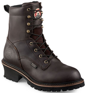 Red Wing Irish Setter Mesabi Logger Work Boots - Steel Toe , Brown, hi-res