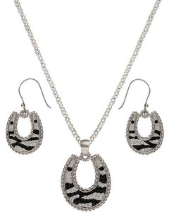 Montana Silversmiths Candied Collection Horseshoes with Zebra Stripes Jewelry Se, , hi-res