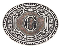"Montana Silversmiths Men's Initial ""G"" Two-Tone Attitude Belt Buckle, , hi-res"
