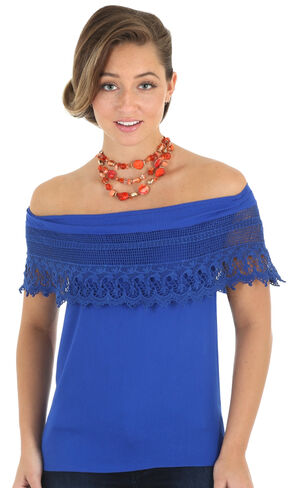 Wrangler Women's Blue Ruffle Off-The-Shoulder Top, Royal, hi-res