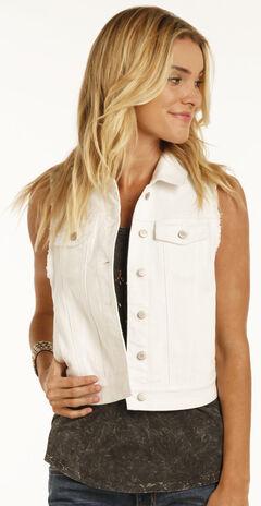 Rock & Roll Cowgirl Women's White Wash Denim Vest , White, hi-res