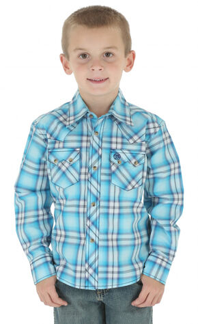 Wrangler Boy's Blue Plaid Western Jean Shirt , Blue, hi-res