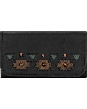 American West Women's Black Chenoa Tri-Fold Wallet , Black, hi-res