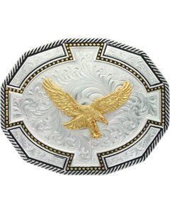 Montana Silversmiths Two Tone Soaring Eagle Buckle, Silver, hi-res
