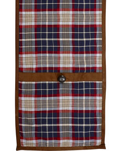 HiEnd Accents South Haven Blue Plaid & Suede Table Runner, , hi-res