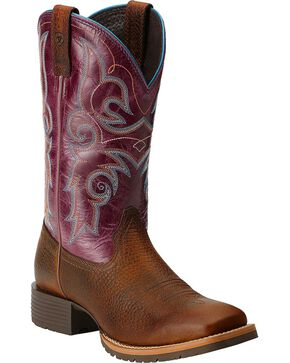 Ariat Hybrid Rancher Cowgirl Boots - Square Toe, Brown, hi-res